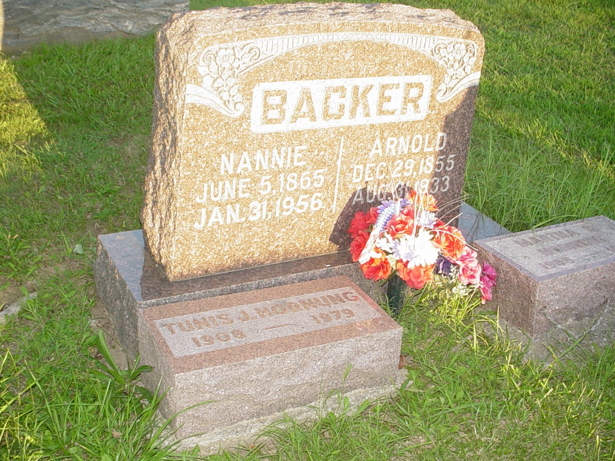 Arnold Backer and Nannie Kemper Headstone Photo, Hillcrest Cemetery, Callaway County genealogy