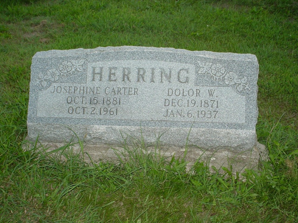 Dolor W. Herring and Josephine Carter Headstone Photo, Hillcrest Cemetery, Callaway County genealogy