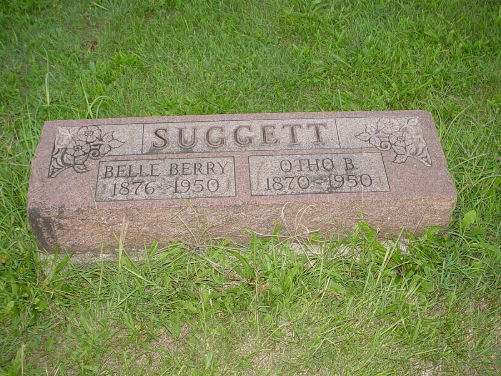Otho B. Suggett and Harriet Belle Berry Headstone Photo, Hillcrest Cemetery, Callaway County genealogy