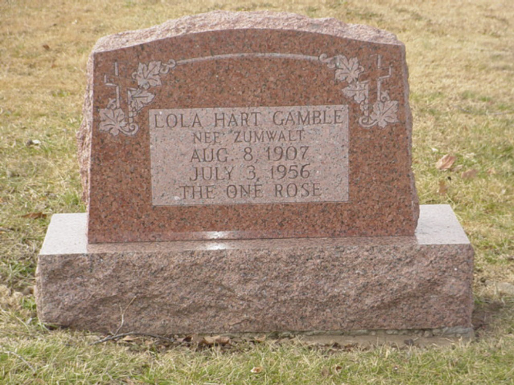 Lola Hart Zumwalt Gamble Headstone Photo, Hillcrest Cemetery, Callaway County genealogy