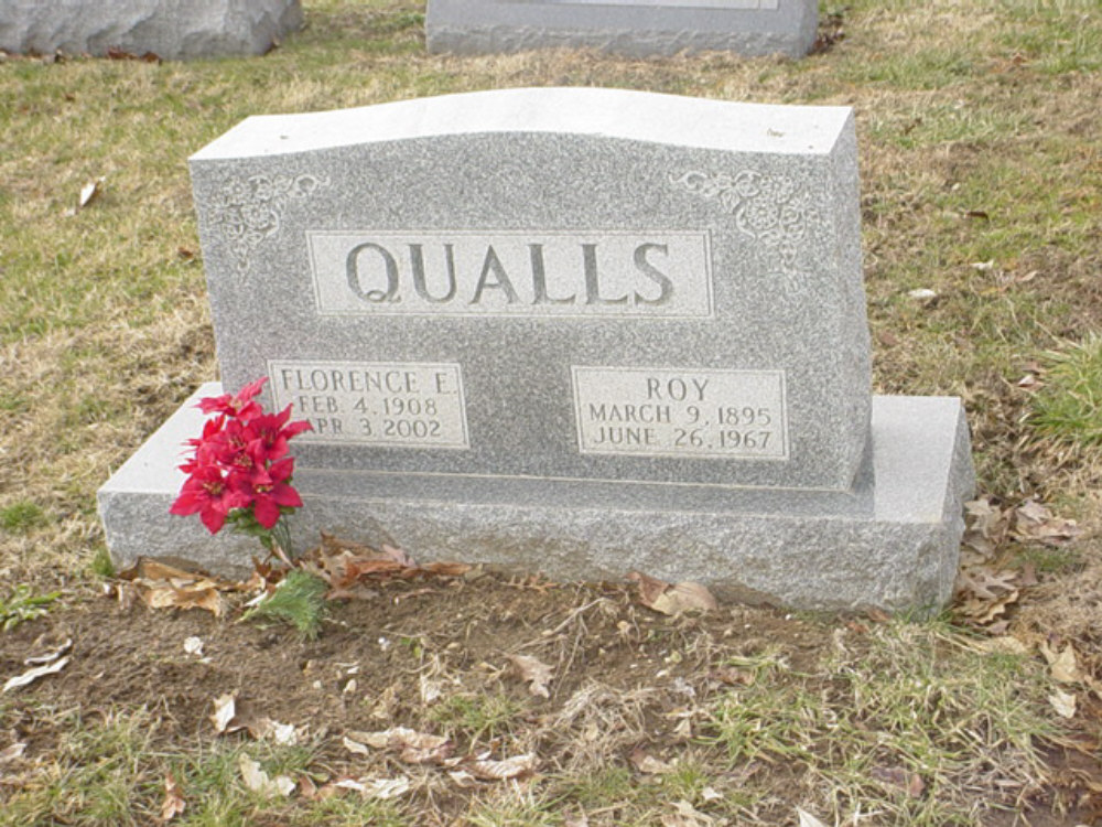 Roy and Florence Qualls Headstone Photo, Hillcrest Cemetery, Callaway County genealogy