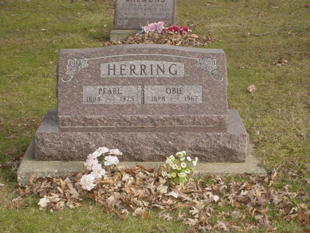 Obie Herring & Eva Pearl Menefee Headstone Photo, Hillcrest Cemetery, Callaway County genealogy