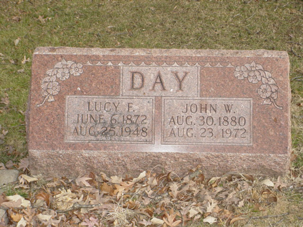 John W. Day & Lucy F. Dobson Headstone Photo, Hillcrest Cemetery, Callaway County genealogy