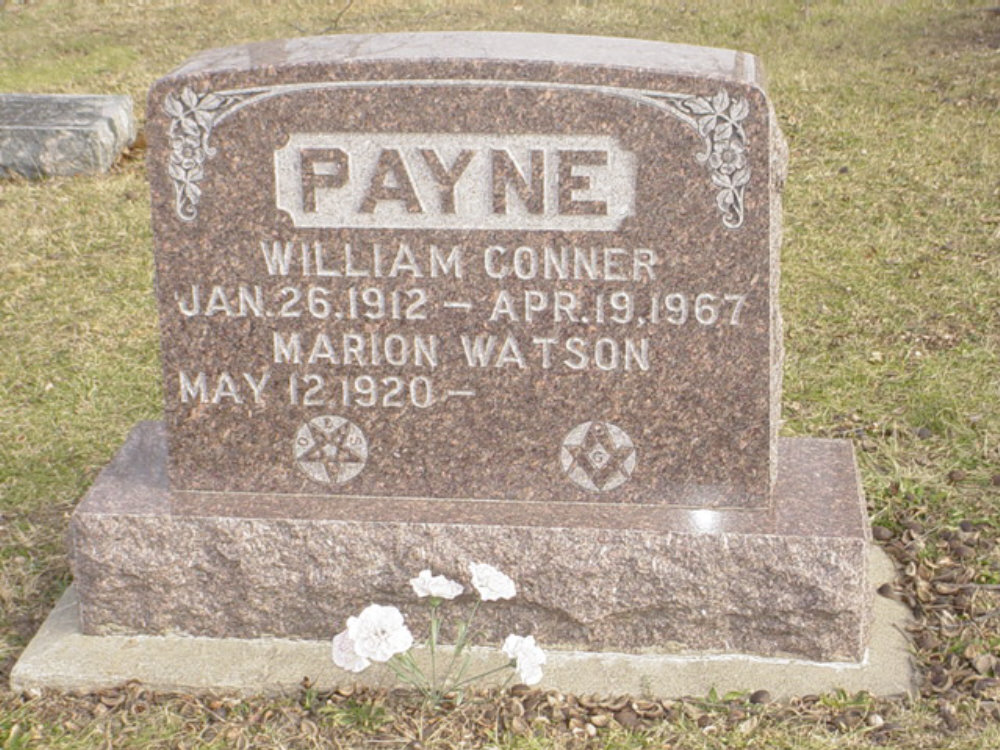William Conner Payne Headstone Photo, Hillcrest Cemetery, Callaway County genealogy