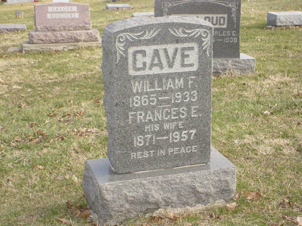 William F. Cave & Frances E. Mitchell Headstone Photo, Hillcrest Cemetery, Callaway County genealogy