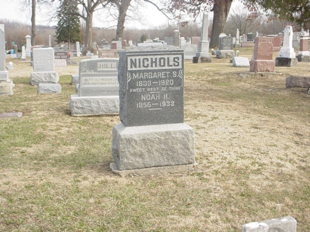 Noah H. Nichols and Margaret S. Craghead Headstone Photo, Hillcrest Cemetery, Callaway County genealogy