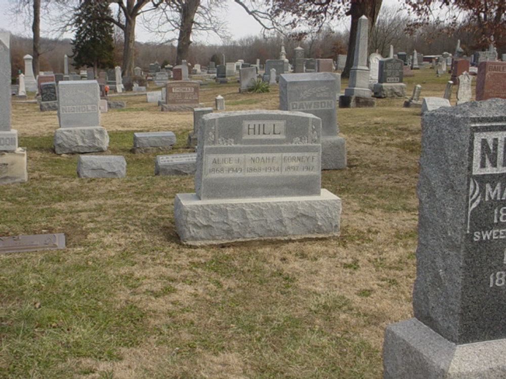 Noah F., Alice I., and Forney F. Hill Headstone Photo, Hillcrest Cemetery, Callaway County genealogy