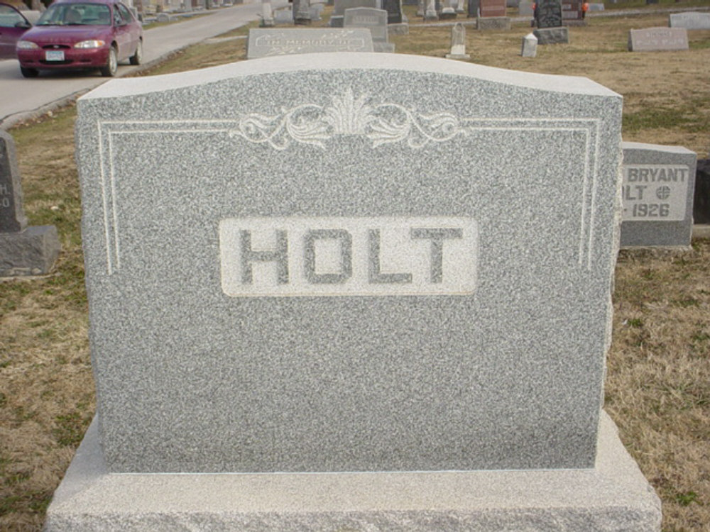 Holt family Headstone Photo, Hillcrest Cemetery, Callaway County genealogy