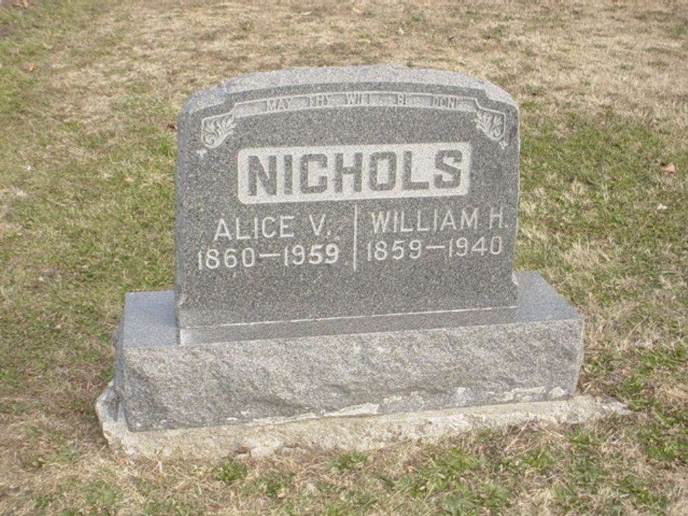 William Nichols and Alice Funk Headstone Photo, Hillcrest Cemetery, Callaway County genealogy