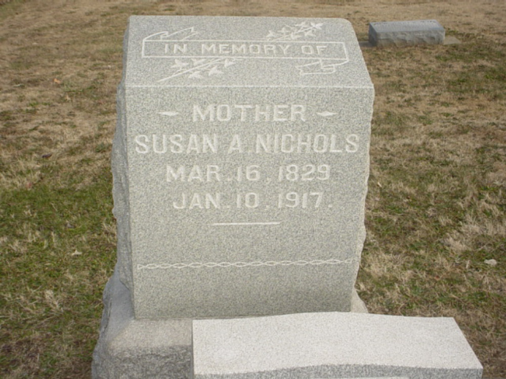 Susan A. Muir Nichols Headstone Photo, Hillcrest Cemetery, Callaway County genealogy