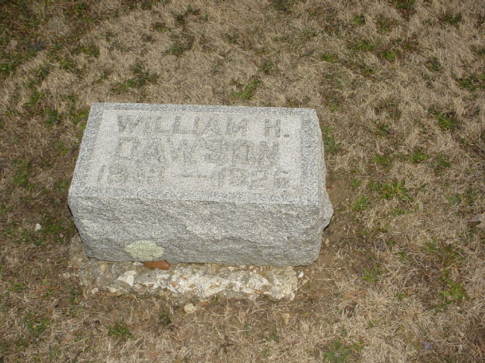 William H. Dawson Headstone Photo, Hillcrest Cemetery, Callaway County genealogy
