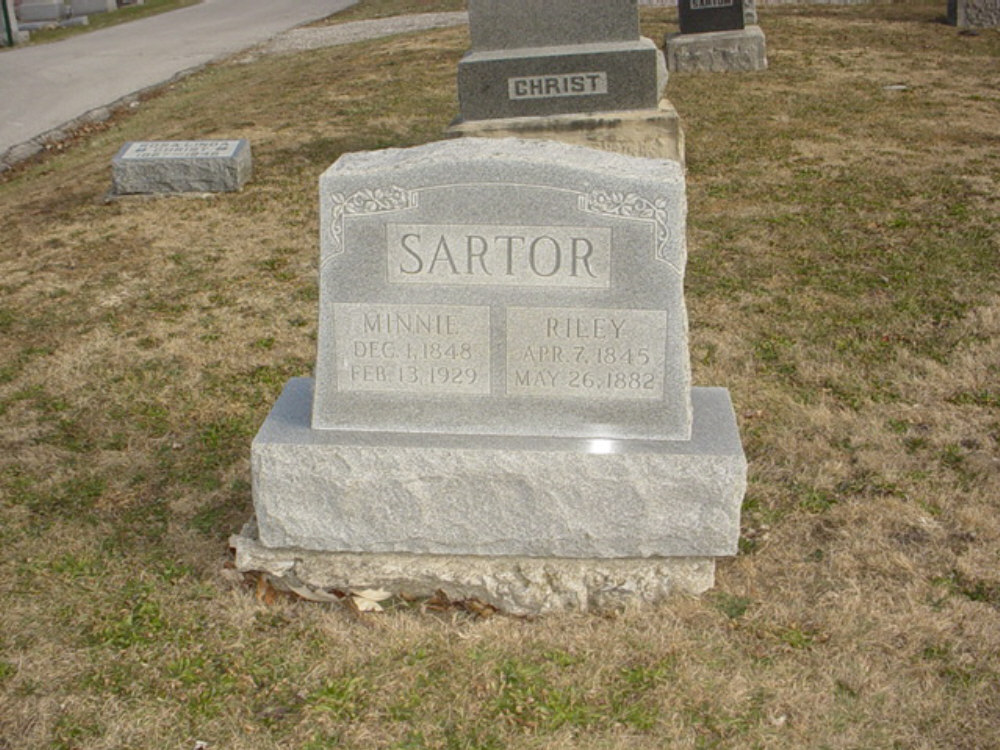 Riley Sartor and Minnie Christ Headstone Photo, Hillcrest Cemetery, Callaway County genealogy