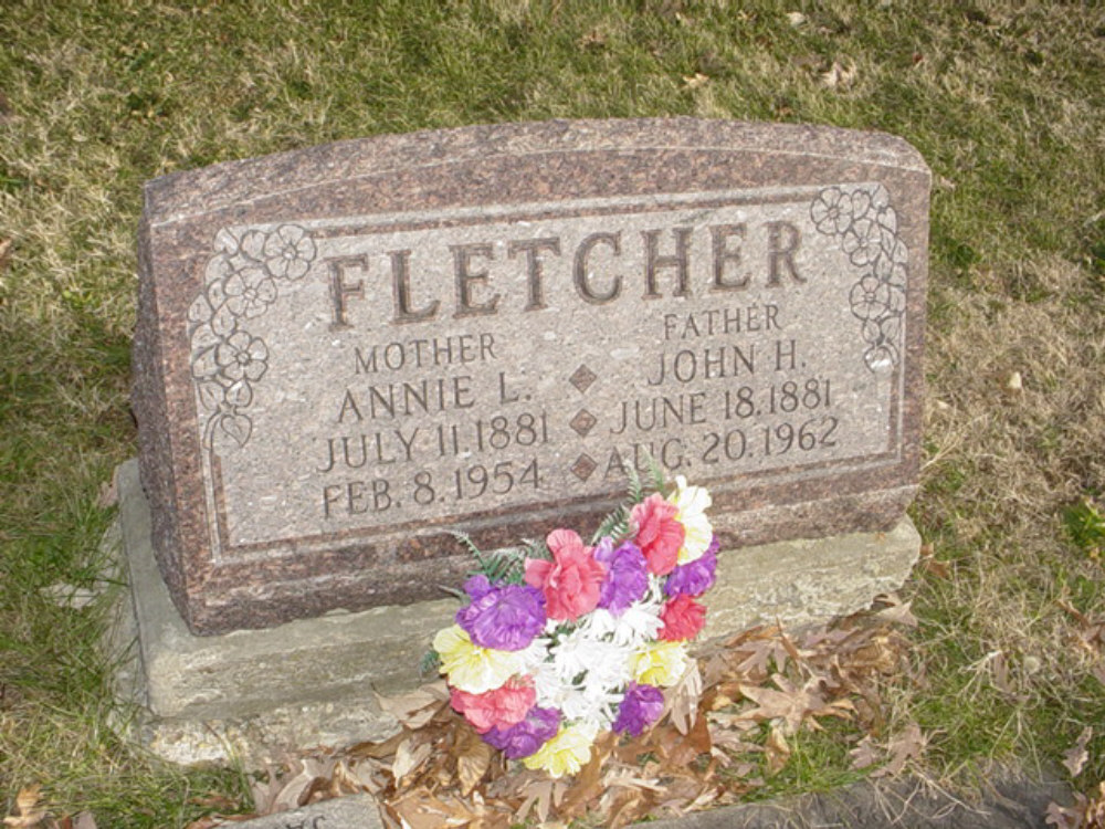 John H. Fletcher and Annie Lee Fisher Headstone Photo, Hillcrest Cemetery, Callaway County genealogy