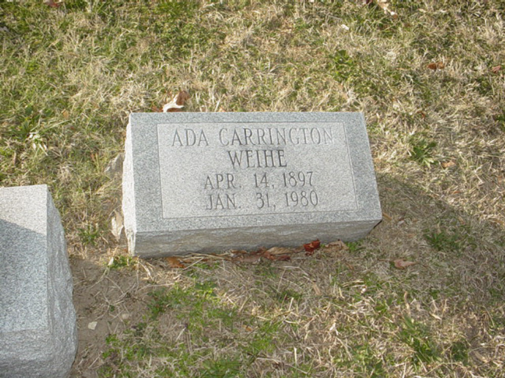 Ada Perry Carrington Weihe Headstone Photo, Hillcrest Cemetery, Callaway County genealogy