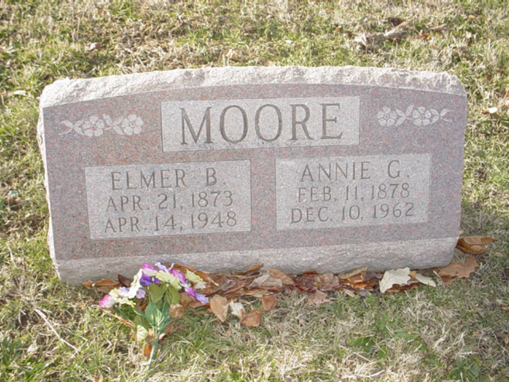 Elmer B. Moore and Annie G. Turner Headstone Photo, Hillcrest Cemetery, Callaway County genealogy