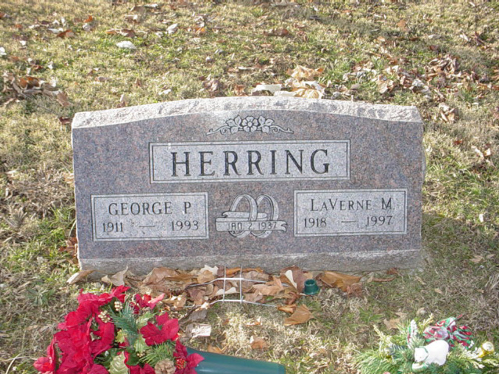 George P. Herring & LaVerne M. Zimmerman Headstone Photo, Hillcrest Cemetery, Callaway County genealogy