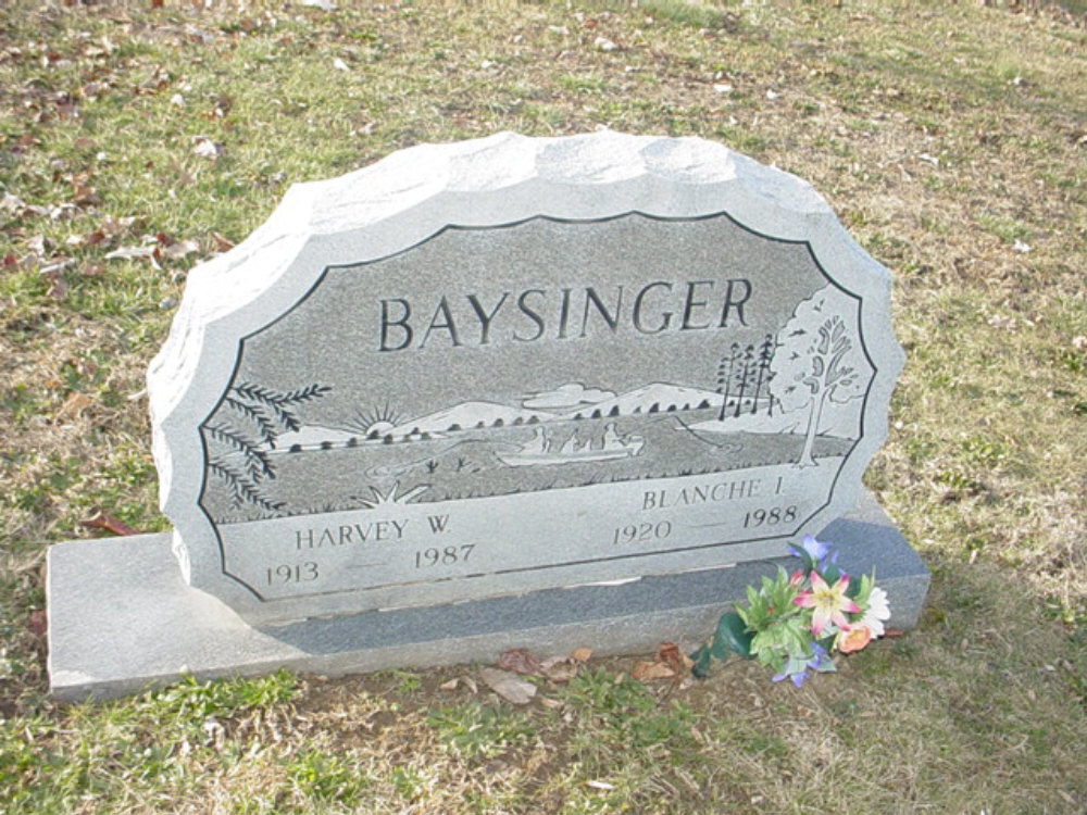 Harvey W. and Blanche I. Baysinger Headstone Photo, Hillcrest Cemetery, Callaway County genealogy