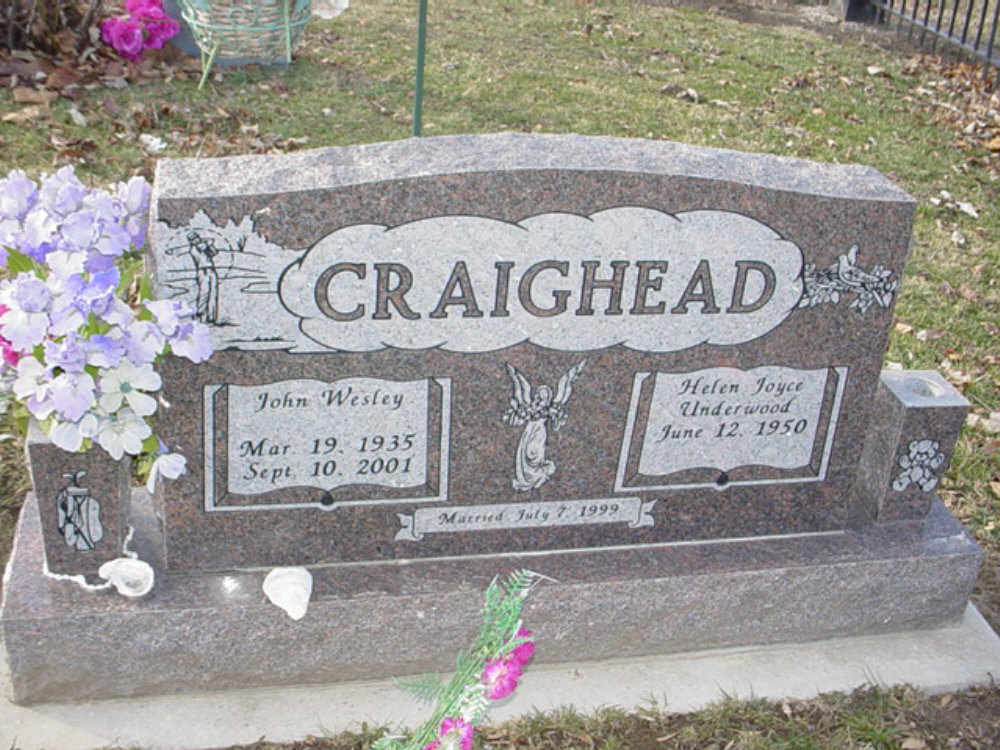 John Wesley Craighead Headstone Photo, Hillcrest Cemetery, Callaway County genealogy