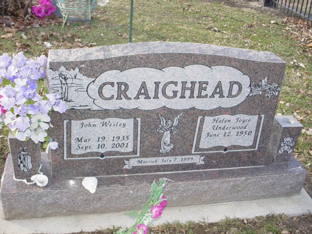 John Wesley Craighead Headstone Photo, Hillcrest Cemetery, Callaway County genealogy
