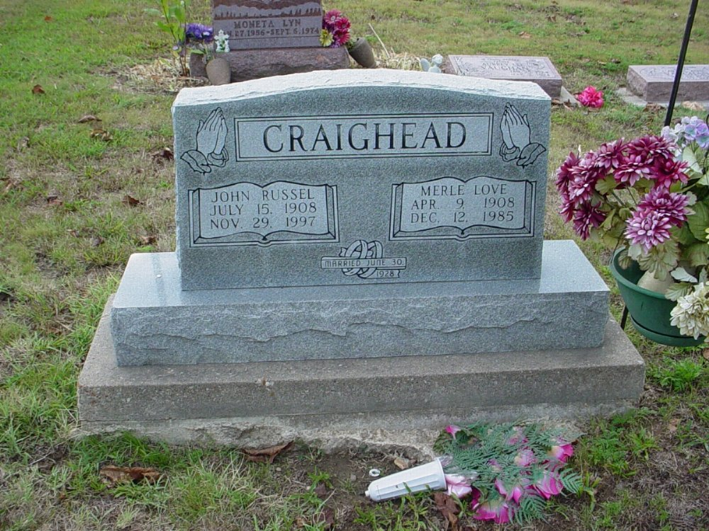 John Russel Craighead and Merle Love Headstone Photo, Hillcrest Cemetery, Callaway County genealogy