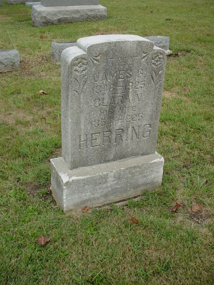 James G. Herring and Clara Viola Davis Headstone Photo, Hillcrest Cemetery, Callaway County genealogy