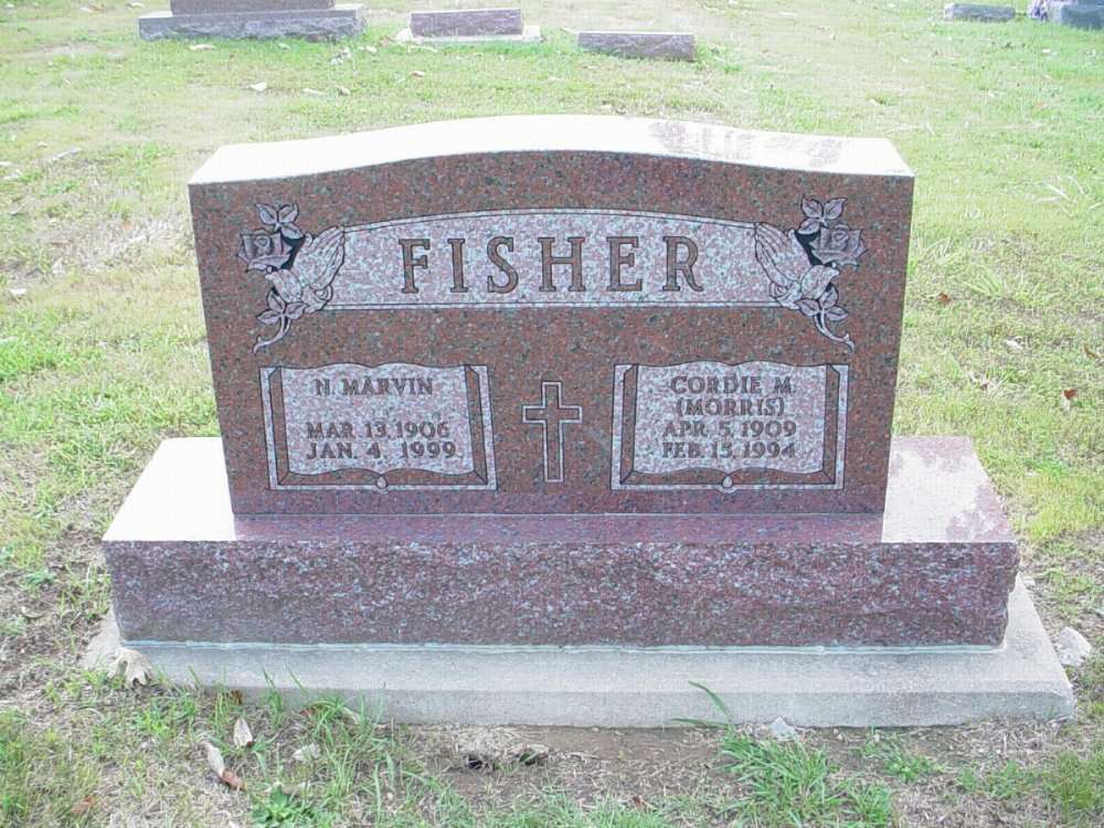 N. Marvin and Cordie M. Fisher Headstone Photo, Hillcrest Cemetery, Callaway County genealogy