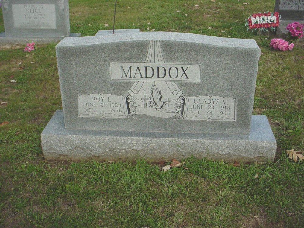 Roy E. and Gladys V. Maddox Headstone Photo, Hillcrest Cemetery, Callaway County genealogy