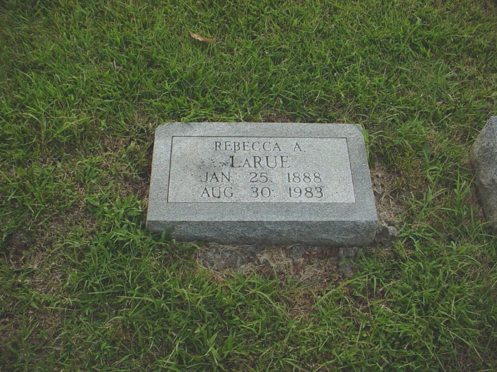 Rebecca A. LaRue Headstone Photo, Hillcrest Cemetery, Callaway County genealogy