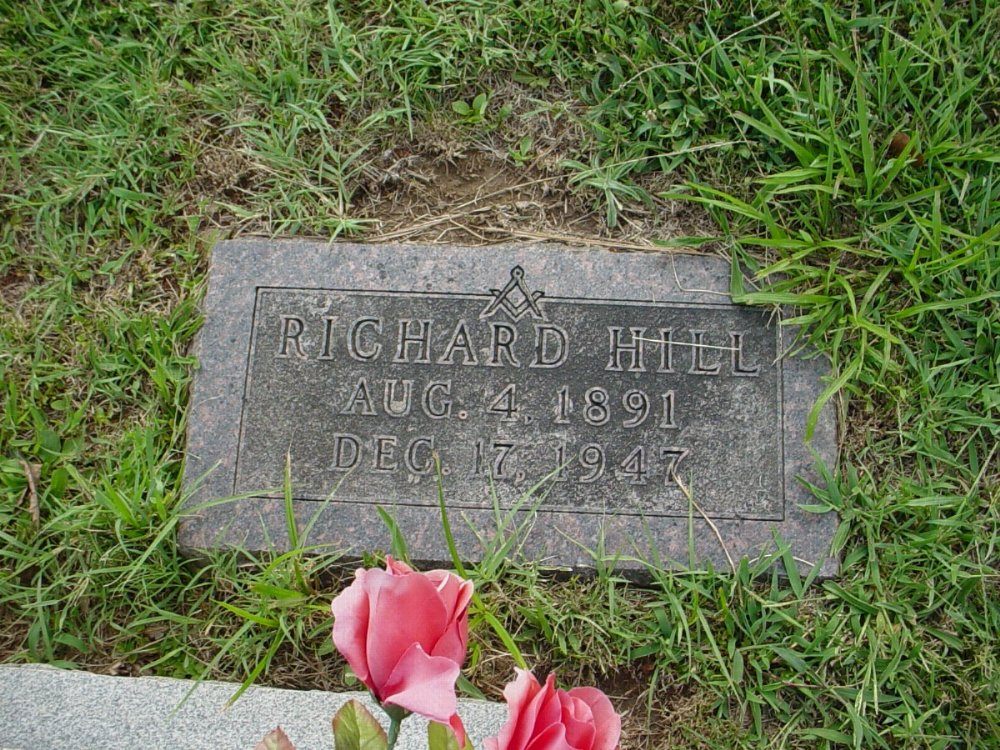 Richard William Hill Headstone Photo, Hillcrest Cemetery, Callaway County genealogy