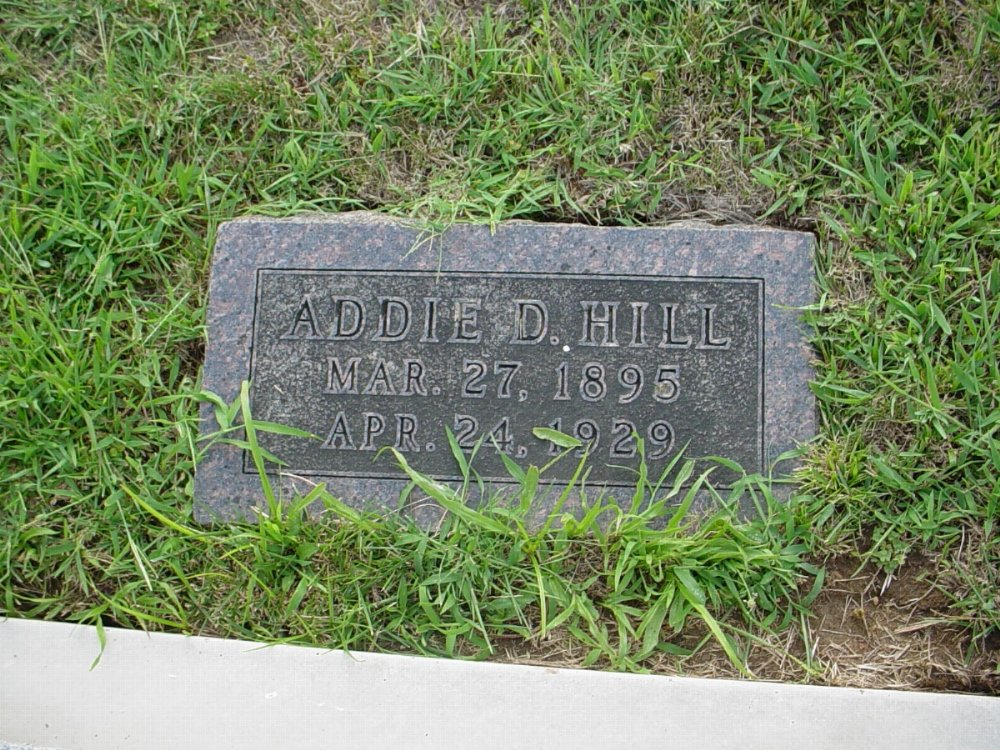 Addie Douglass Hill Headstone Photo, Hillcrest Cemetery, Callaway County genealogy