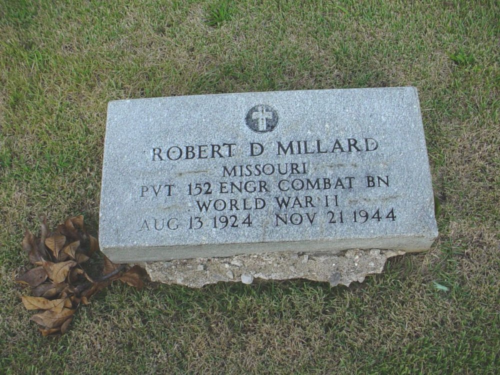 Robert D. Millard Headstone Photo, Hillcrest Cemetery, Callaway County genealogy