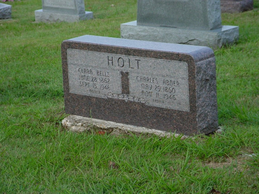Charles A. Holt & Clara B. Rigel Headstone Photo, Hillcrest Cemetery, Callaway County genealogy
