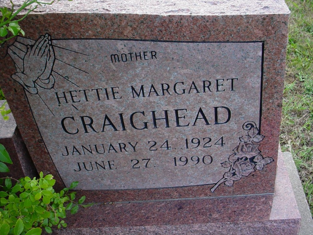 Hettie Margaret Craighead Headstone Photo, Hillcrest Cemetery, Callaway County genealogy