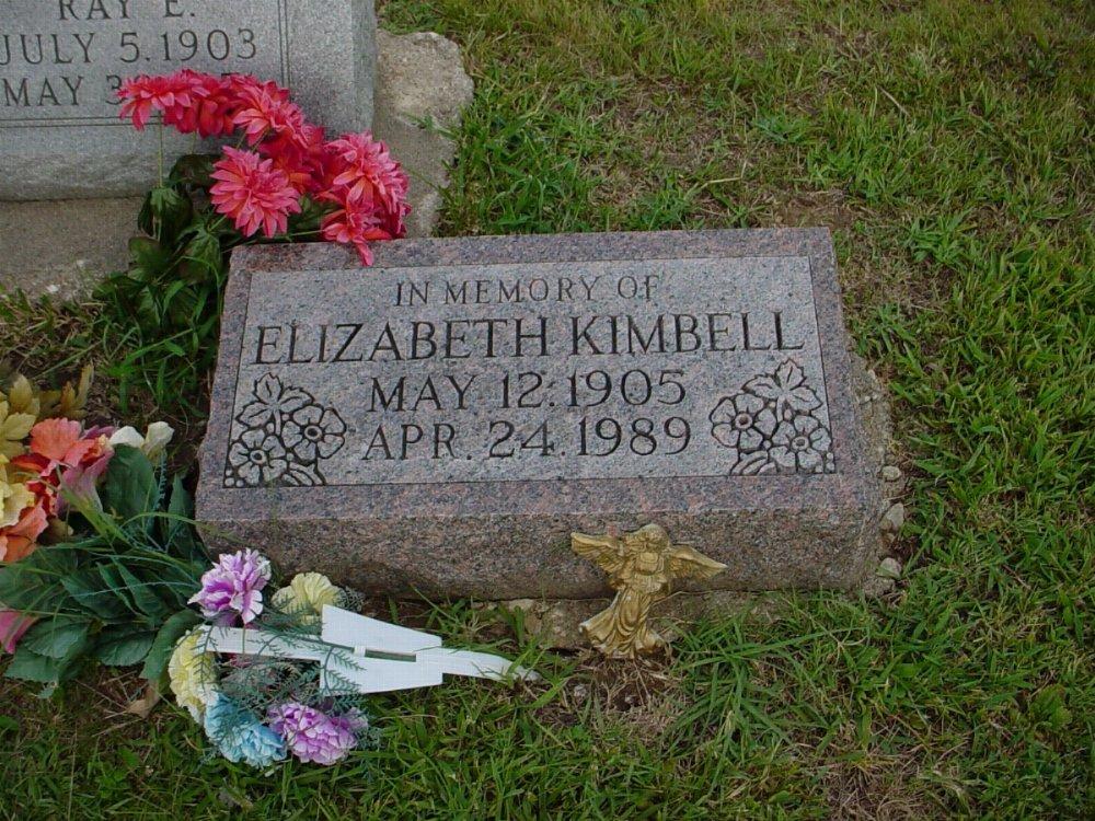 Elizabeth Hill Kimbell Headstone Photo, Hillcrest Cemetery, Callaway County genealogy