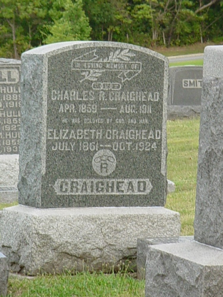 Charles R. Craighead and Elizabeth Marez Headstone Photo, Hillcrest Cemetery, Callaway County genealogy
