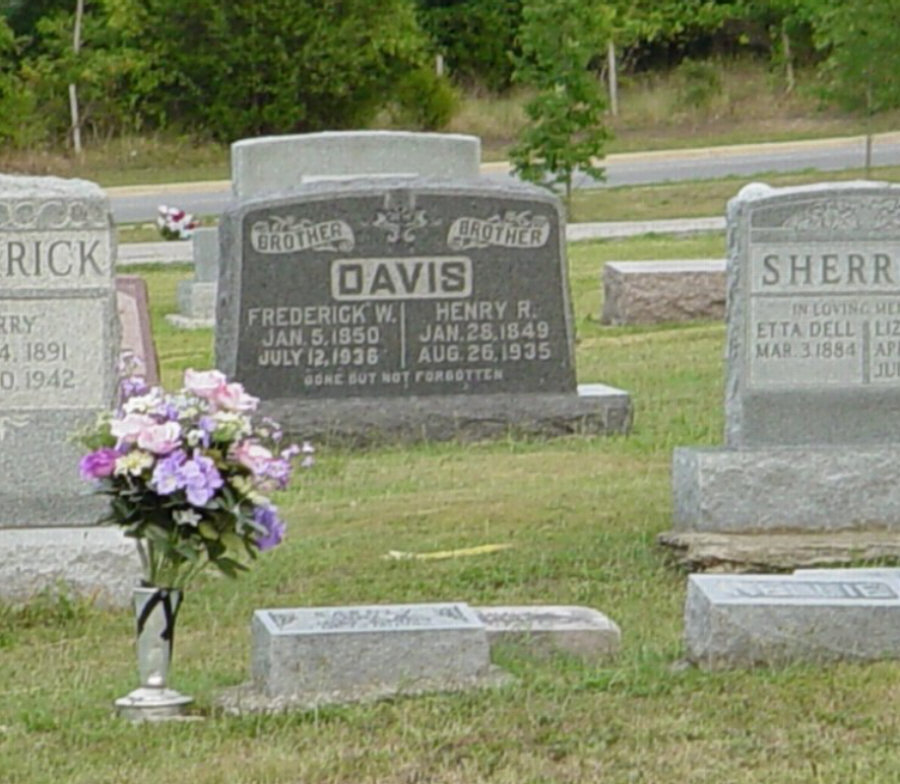 Frederick and Henry Davis Headstone Photo, Hillcrest Cemetery, Callaway County genealogy