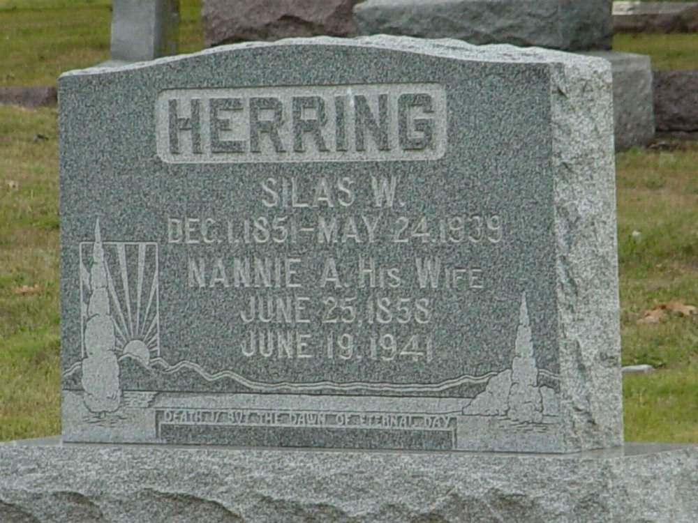 Silas W. Herring and Nannie Mirts Headstone Photo, Hillcrest Cemetery, Callaway County genealogy