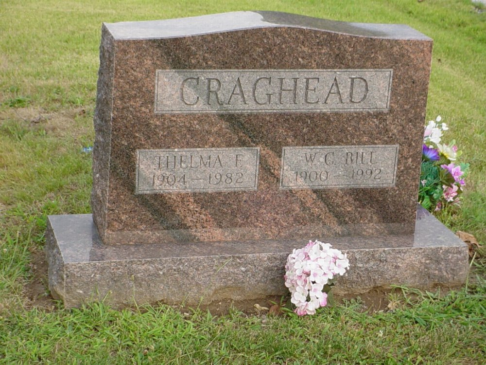 William C. Craghead and Thelma Flippen Headstone Photo, Hillcrest Cemetery, Callaway County genealogy