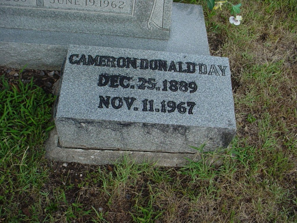 Camerson Donald Day Headstone Photo, Hillcrest Cemetery, Callaway County genealogy