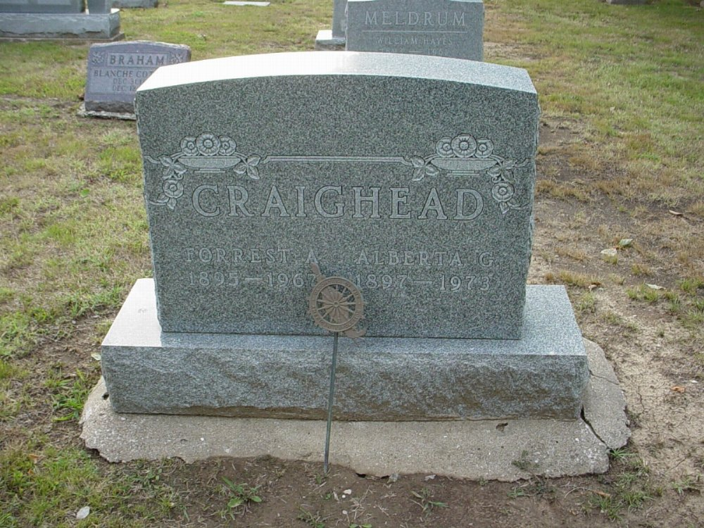 Forrest Craighead and Alberta Sanders Headstone Photo, Hillcrest Cemetery, Callaway County genealogy