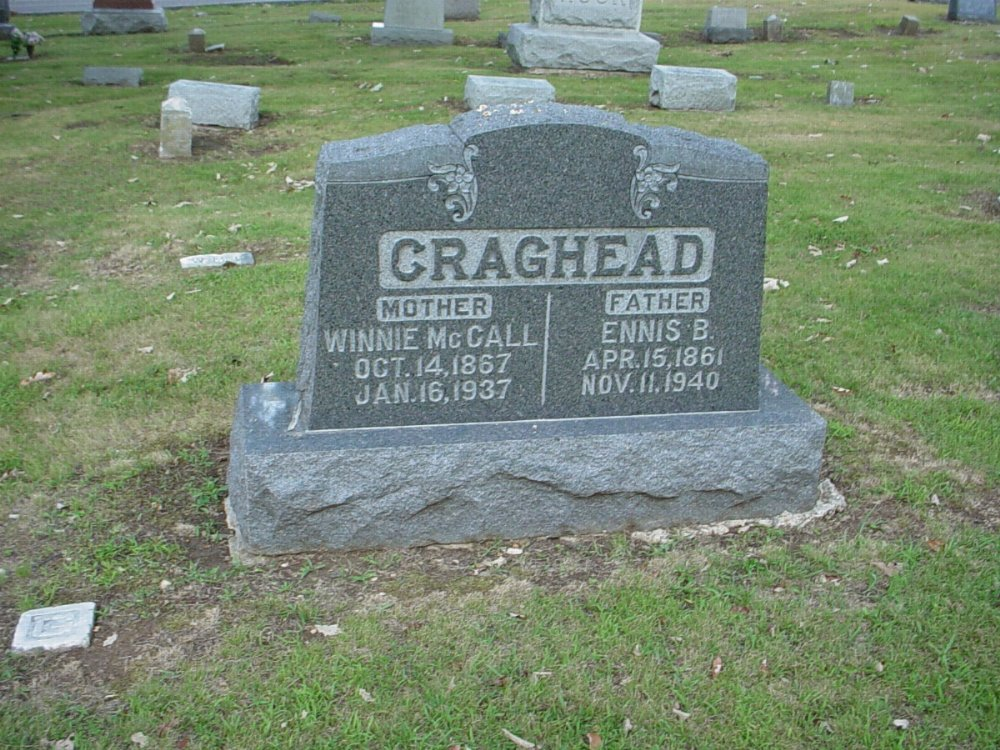 Ennis B. Craghead and Winnie McCall Headstone Photo, Hillcrest Cemetery, Callaway County genealogy