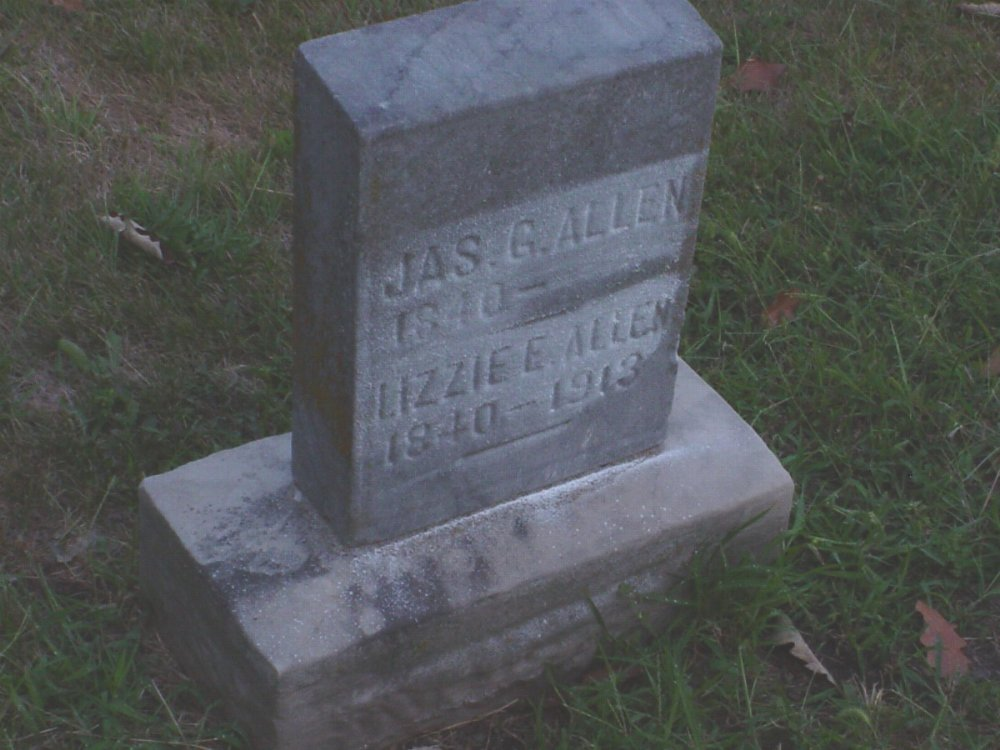 James Allen & Lizzie E. Decker Headstone Photo, Hillcrest Cemetery, Callaway County genealogy