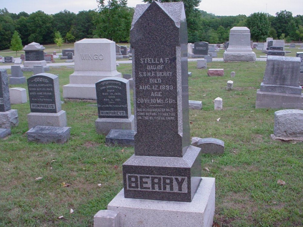 Stella Frances Berry Headstone Photo, Hillcrest Cemetery, Callaway County genealogy