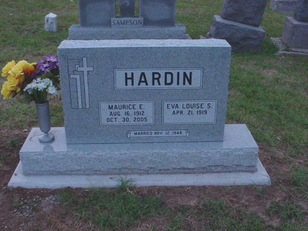 Maurice E. Hardin & Eva L. Sampson Headstone Photo, Hillcrest Cemetery, Callaway County genealogy