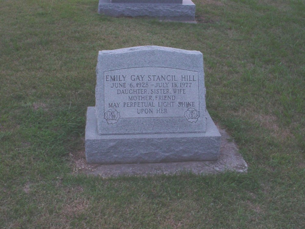 Emily G. Stancil Hill Headstone Photo, Hillcrest Cemetery, Callaway County genealogy