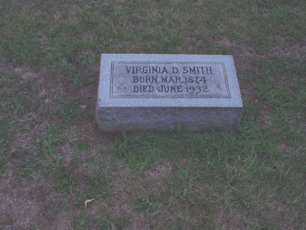Virginia D. Smith Headstone Photo, Hillcrest Cemetery, Callaway County genealogy