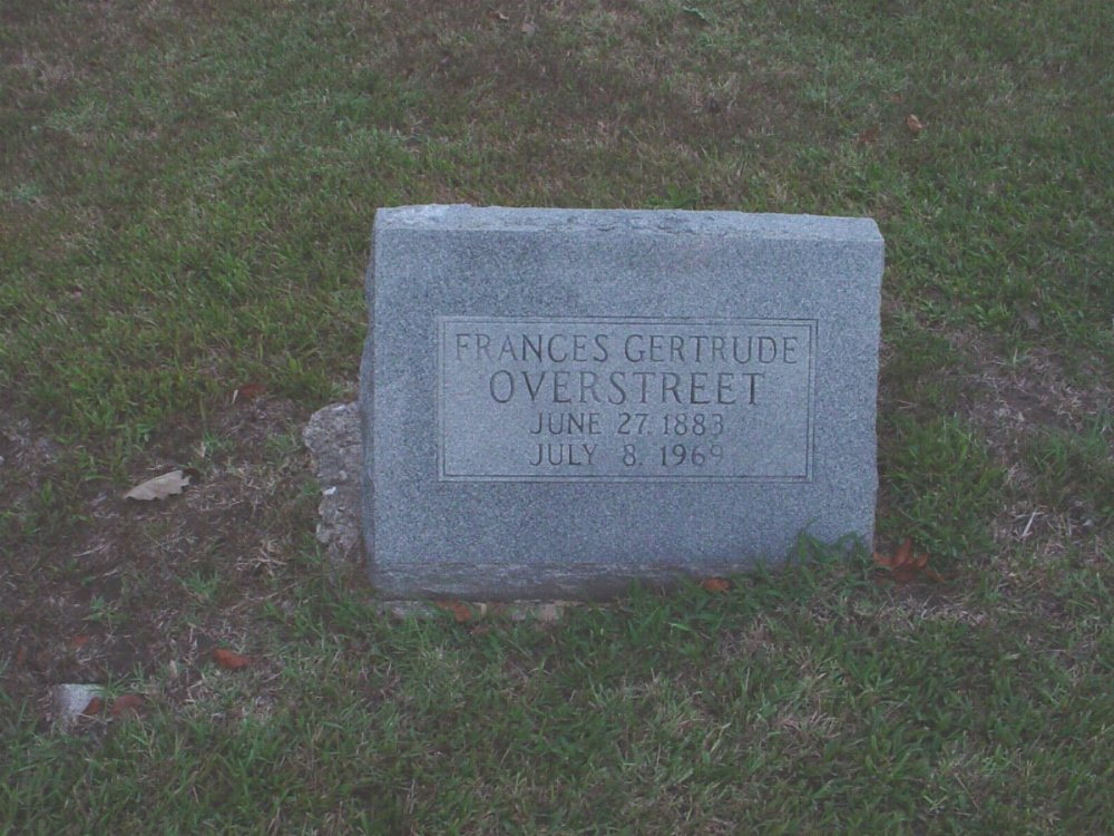 Frances G. Overstreet Headstone Photo, Hillcrest Cemetery, Callaway County genealogy