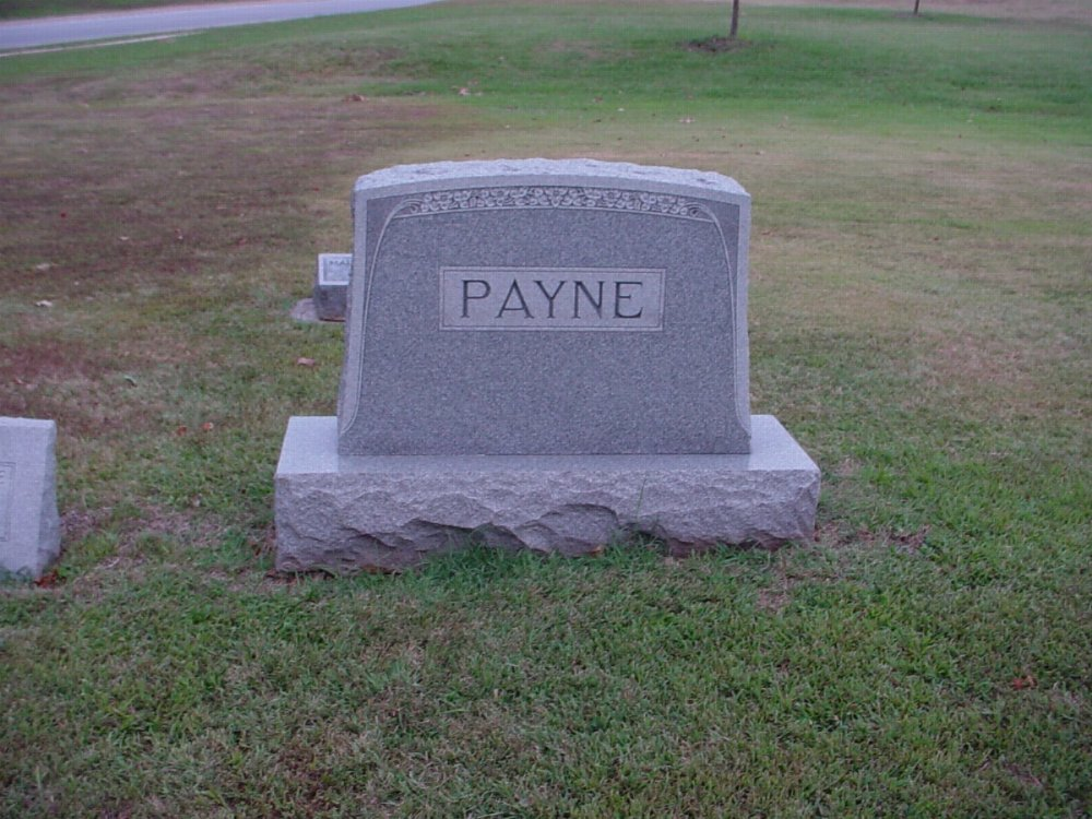 Payne family Headstone Photo, Hillcrest Cemetery, Callaway County genealogy
