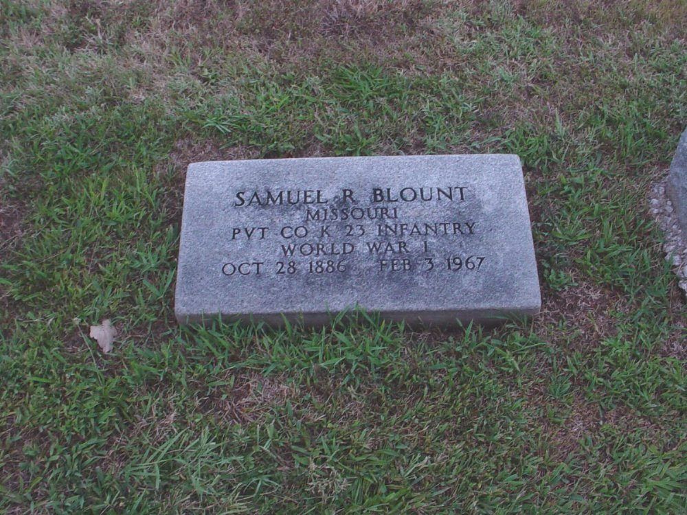 Samuel R. Blount Headstone Photo, Hillcrest Cemetery, Callaway County genealogy