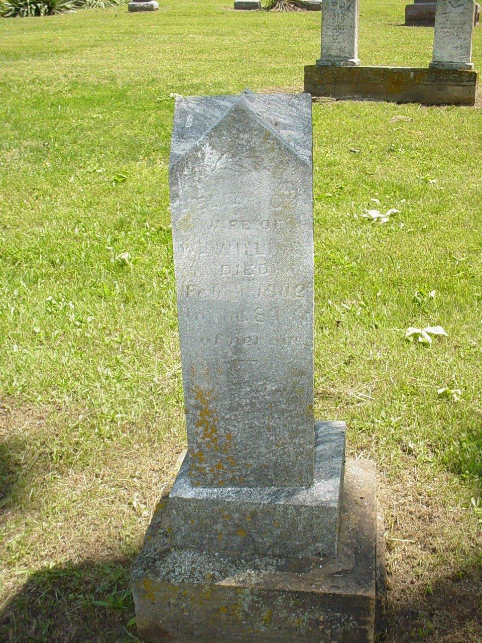 Eliza C. Parker Willing Headstone Photo, Hillcrest Cemetery, Callaway County genealogy